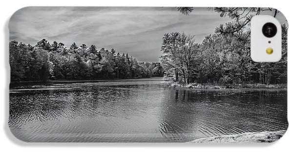 IPhone 5c Case featuring the photograph Fork In River Bw by Mark Myhaver
