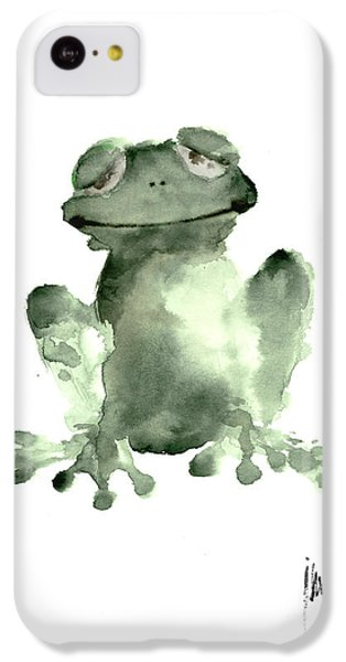 Frog Painting Watercolor Art Print Green Frog Large Poster IPhone 5c Case by Joanna Szmerdt