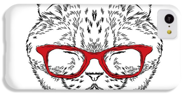 T Shirts iPhone 5c Case - Funny Cat In A Tie And Glasses. Vector by Vitaly Grin