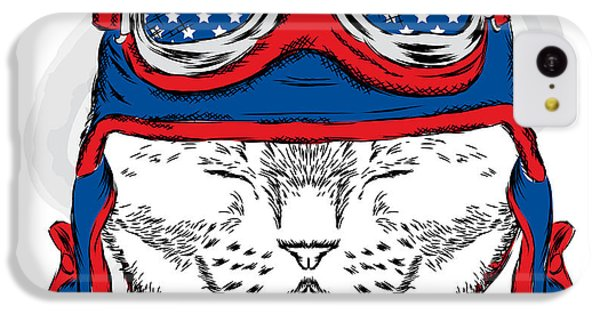 T Shirts iPhone 5c Case - Funny Cat In The Hat And Scarf. Vector by Vitaly Grin