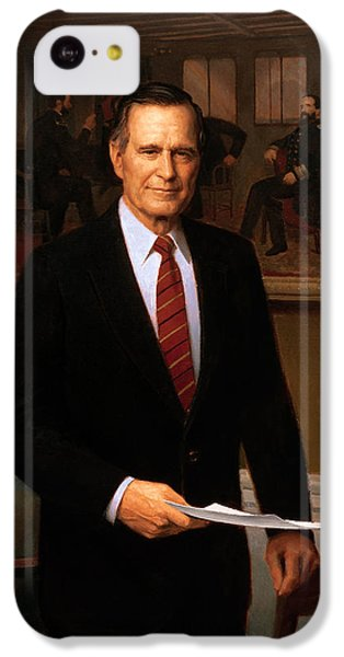 George Hw Bush Presidential Portrait IPhone 5c Case by War Is Hell Store