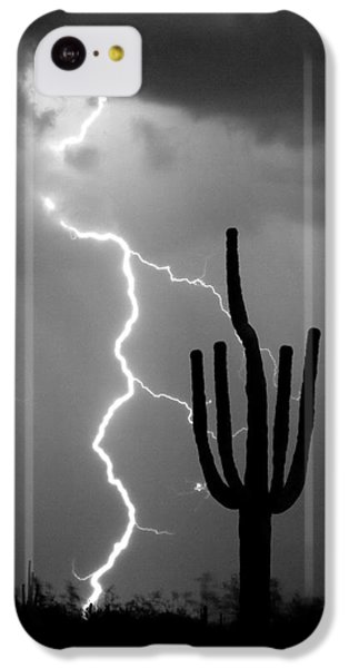 Giant Saguaro Cactus Lightning Strike Bw IPhone 5c Case