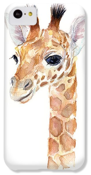 Giraffe iPhone 5c Case - Giraffe Watercolor by Olga Shvartsur