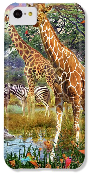 IPhone 5c Case featuring the drawing Giraffes by Jan Patrik Krasny