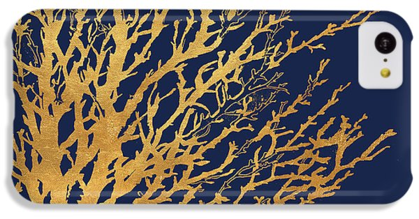 Gold Medley On Navy IPhone 5c Case by Lanie Loreth