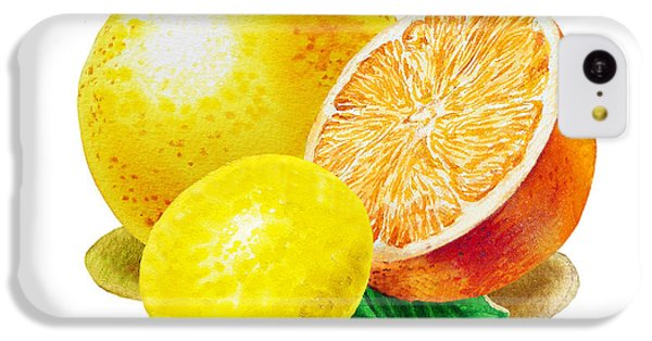 IPhone 5c Case featuring the painting Grapefruit Lemon Orange by Irina Sztukowski