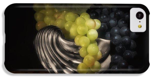 Fruit Bowl iPhone 5c Case - Grapes In Silver Seashell Still Life by Tom Mc Nemar