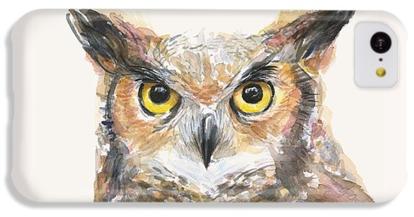 Great Horned Owl Watercolor IPhone 5c Case by Olga Shvartsur