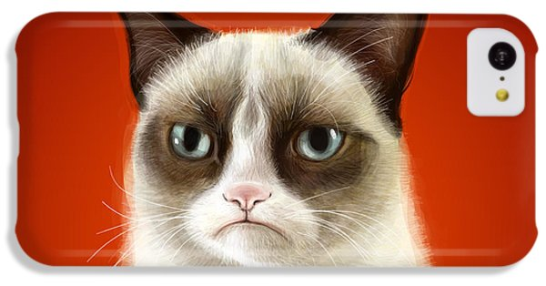 Cat iPhone 5c Case - Grumpy Cat by Olga Shvartsur