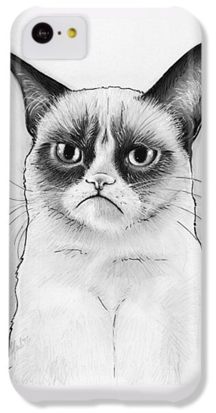 Cat iPhone 5c Case - Grumpy Cat Portrait by Olga Shvartsur