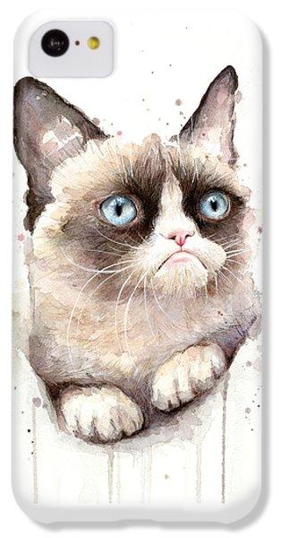 Cat iPhone 5c Case - Grumpy Cat Watercolor by Olga Shvartsur