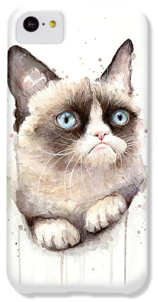 Portraits iPhone 5c Case - Grumpy Cat Watercolor by Olga Shvartsur