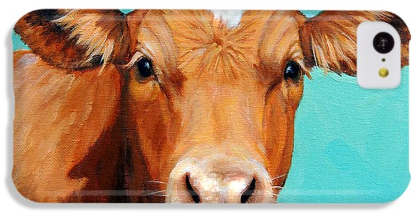 Cow iPhone 5c Case - Guernsey Cow On Light Teal No Horns by Dottie Dracos