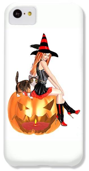 Luxmaris iPhone 5c Case - Halloween Witch Nicki With Kitten by Renate Janssen