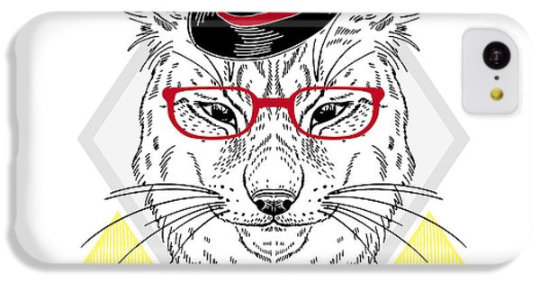 T Shirts iPhone 5c Case - Hand Drawn Portrait Of Hipster Lynx In by Olga angelloz