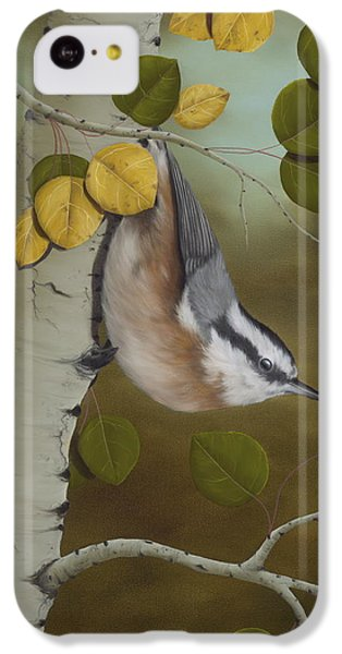 Wildlife iPhone 5c Case - Hanging Around-red Breasted Nuthatch by Rick Bainbridge