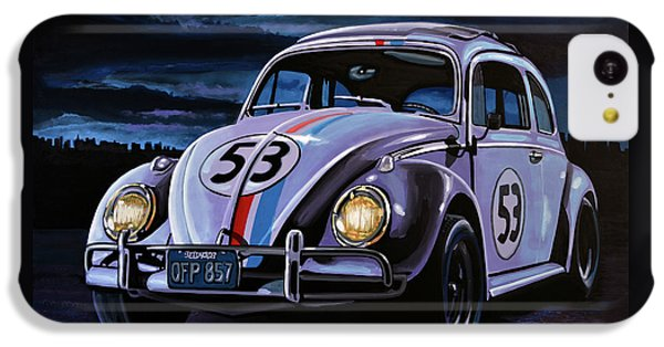 Beetle iPhone 5c Case - Herbie The Love Bug Painting by Paul Meijering