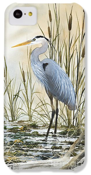 Heron iPhone 5c Case - Heron And Cattails by James Williamson