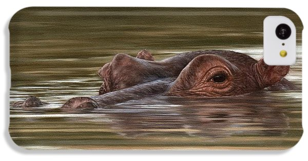 Hippo Painting IPhone 5c Case by Rachel Stribbling