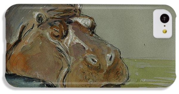 Hippopotamus iPhone 5c Case - Hippo Sleeping by Juan  Bosco