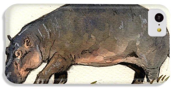Hippo Walk IPhone 5c Case by Juan  Bosco