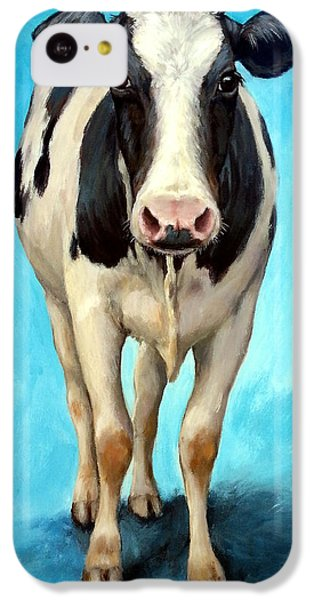 Holstein Cow Standing On Turquoise IPhone 5c Case by Dottie Dracos