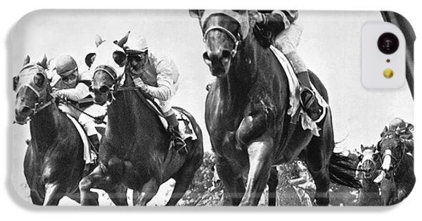 Horse iPhone 5c Case - Horse Racing At Belmont Park by Underwood Archives