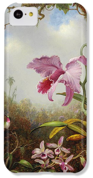 Humming Bird iPhone 5c Case - Hummingbird And Two Types Of Orchids by Martin Johnson Heade
