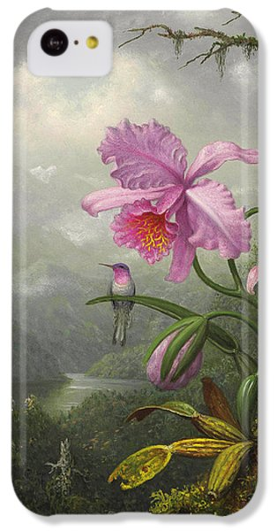 Humming Bird iPhone 5c Case - Hummingbird Perched On The Orchid Plant by Martin Johnson Heade