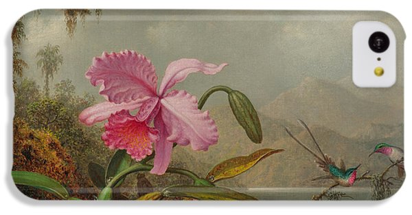 Humming Bird iPhone 5c Case - Hummingbirds And Orchids by Martin Johnson Heade