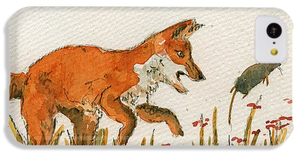 Mouse iPhone 5c Case - Hunting Red Baby Fox by Juan  Bosco