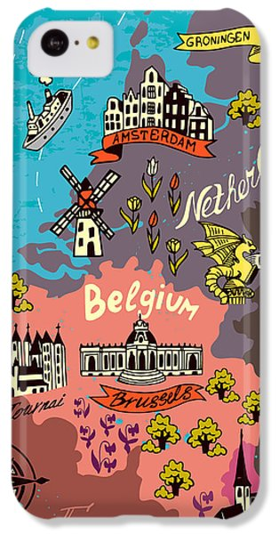 Castle iPhone 5c Case - Illustrated Map Of The Netherlands by Daria i
