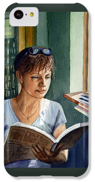 IPhone 5c Case featuring the painting In The Book Store by Irina Sztukowski