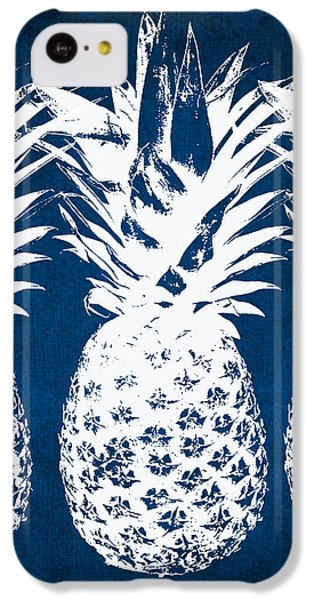 iPhone 5c Case - Indigo And White Pineapples by Linda Woods