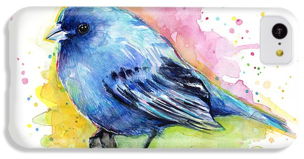 Indigo Bunting Blue Bird Watercolor IPhone 5c Case by Olga Shvartsur
