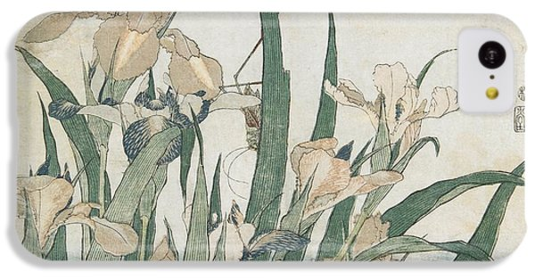Grasshopper iPhone 5c Case - Iris Flowers And Grasshopper by Hokusai