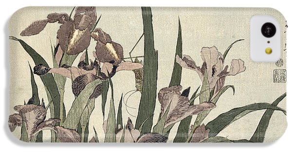 Grasshopper iPhone 5c Case - Irises And Grasshopper by Katsushika Hokusai