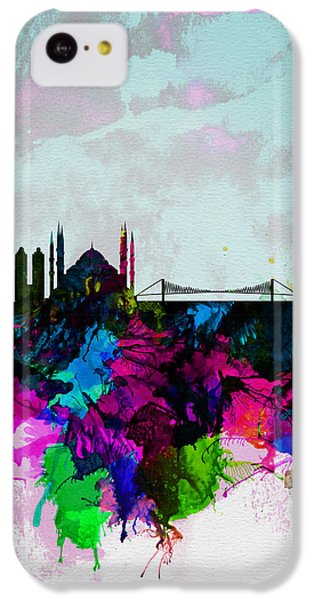 Turkey iPhone 5c Case - Istanbul Watercolor Skyline by Naxart Studio