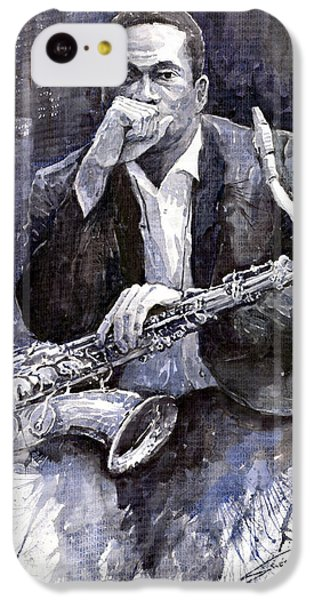 Jazz iPhone 5c Case - Jazz Saxophonist John Coltrane Black by Yuriy Shevchuk