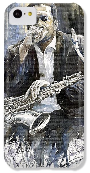 Jazz iPhone 5c Case - Jazz Saxophonist John Coltrane Yellow by Yuriy Shevchuk
