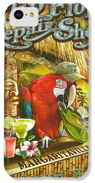 Sharks iPhone 5c Case - Jimmy Buffett's Flip Flop Repair Shop by Desiderata Gallery