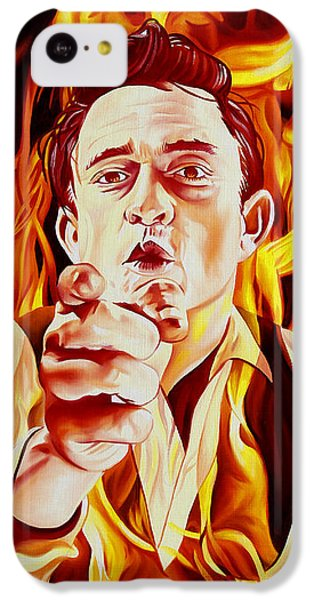 Johnny Cash And It Burns IPhone 5c Case by Joshua Morton