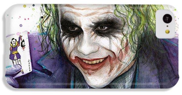 Joker Watercolor Portrait IPhone 5c Case by Olga Shvartsur