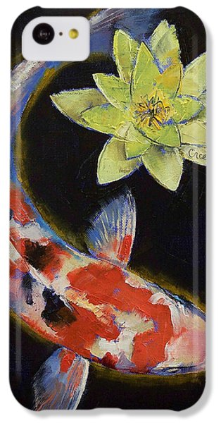 Koi With Yellow Water Lily IPhone 5c Case by Michael Creese