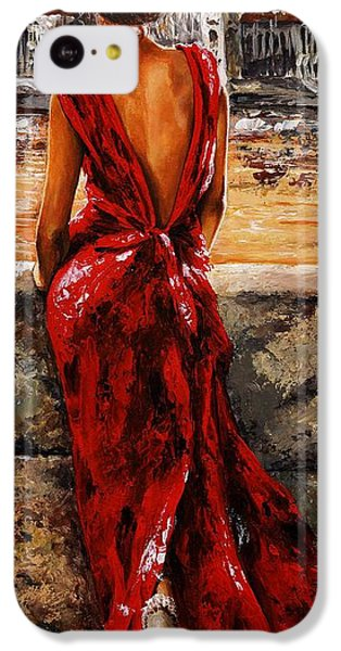 Impressionism iPhone 5c Case - Lady In Red  34 -  I Love Budapest by Emerico Imre Toth