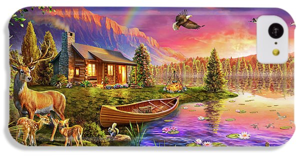 IPhone 5c Case featuring the drawing Lakeside Cabin  by Adrian Chesterman