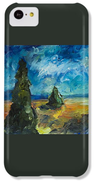 IPhone 5c Case featuring the painting Emerald Spires by Yulia Kazansky
