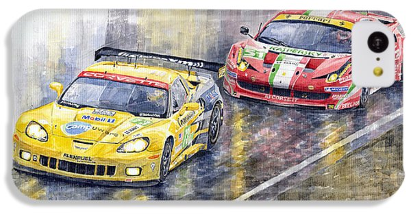 Car iPhone 5c Case - 2011 Le Mans Gte Pro Chevrolette Corvette C6r Vs Ferrari 458 Italia by Yuriy Shevchuk