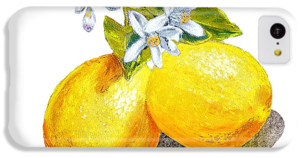 IPhone 5c Case featuring the painting Lemons And Blossoms by Irina Sztukowski