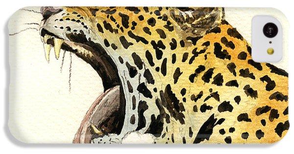 Leopard Head IPhone 5c Case by Juan  Bosco